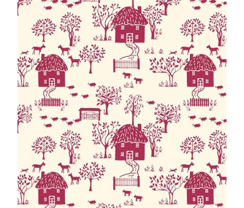 Liberty of London Cottage Garden Cottage Lane Red Cotton Fabric LF04775616X