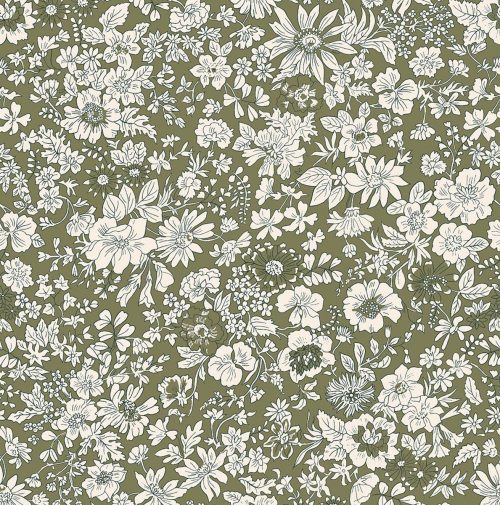 Liberty of London English Garden Emily Silhouette Green Fabric LF04775604T