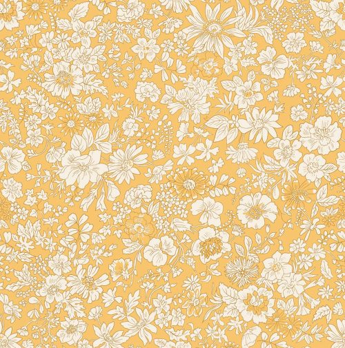 Liberty of London English Garden Emily Silhouette Yellow Fabric LF04775604X