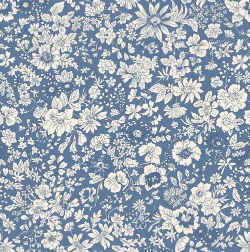 Liberty of London English Garden Emily Silhouette Blue Fabric LF04775604Z