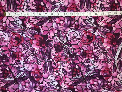Fabric Freedom Twilight Garden Dragonfly Purple Fabric FA2-017