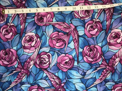 Fabric Freedom Light Fantastic Bird and Rose Lilac Fabric FA2-025
