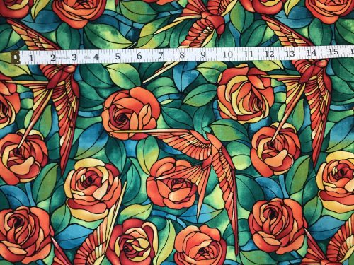 Fabric Freedom Light Fantastic Bird and Rose Orange Fabric FA2-030