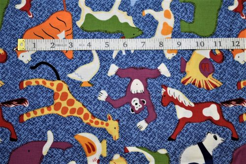 RJR Fabrics Doodle Zoo Animals Blue Fabric FA3-013