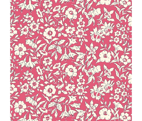Liberty of London Cottage Garden Morning Dew Red Fabric LF04775609Y